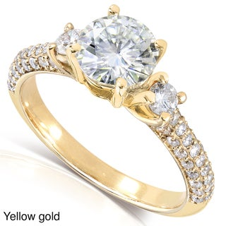 Annello by Kobelli 14k Gold Round-cut Moissanite and 1/2 ct TDW Diamond Engagement Ring (
