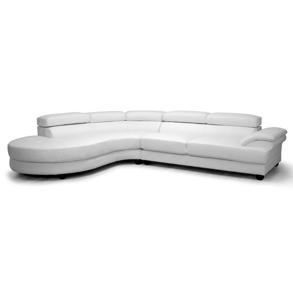 Shop Adelaide White Leather Modern Sectional Sofa Free
