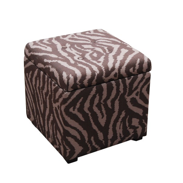 Brown Two-tone Animal Print Storage Cube Ottoman