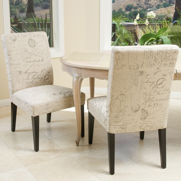 French Script Fabric Dining Chairs (Set of 2) by Christopher Knight Home