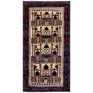 Herat Oriental Afghan Hand-knotted Tribal Balouchi Ivory/ Navy Wool Area Rug (3'3 x 6'2)