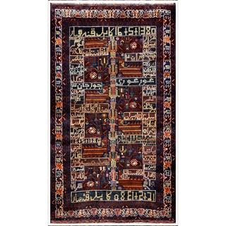 Herat Oriental Afghan Hand-knotted Tribal Balouchi Navy/ Ivory Wool Area Rug (3'7 x 6'1)