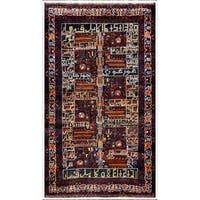 Herat Oriental Afghan Hand-knotted Tribal Balouchi Wool Area Rug (3'7 x 6'1) - 3'7 x 6'1