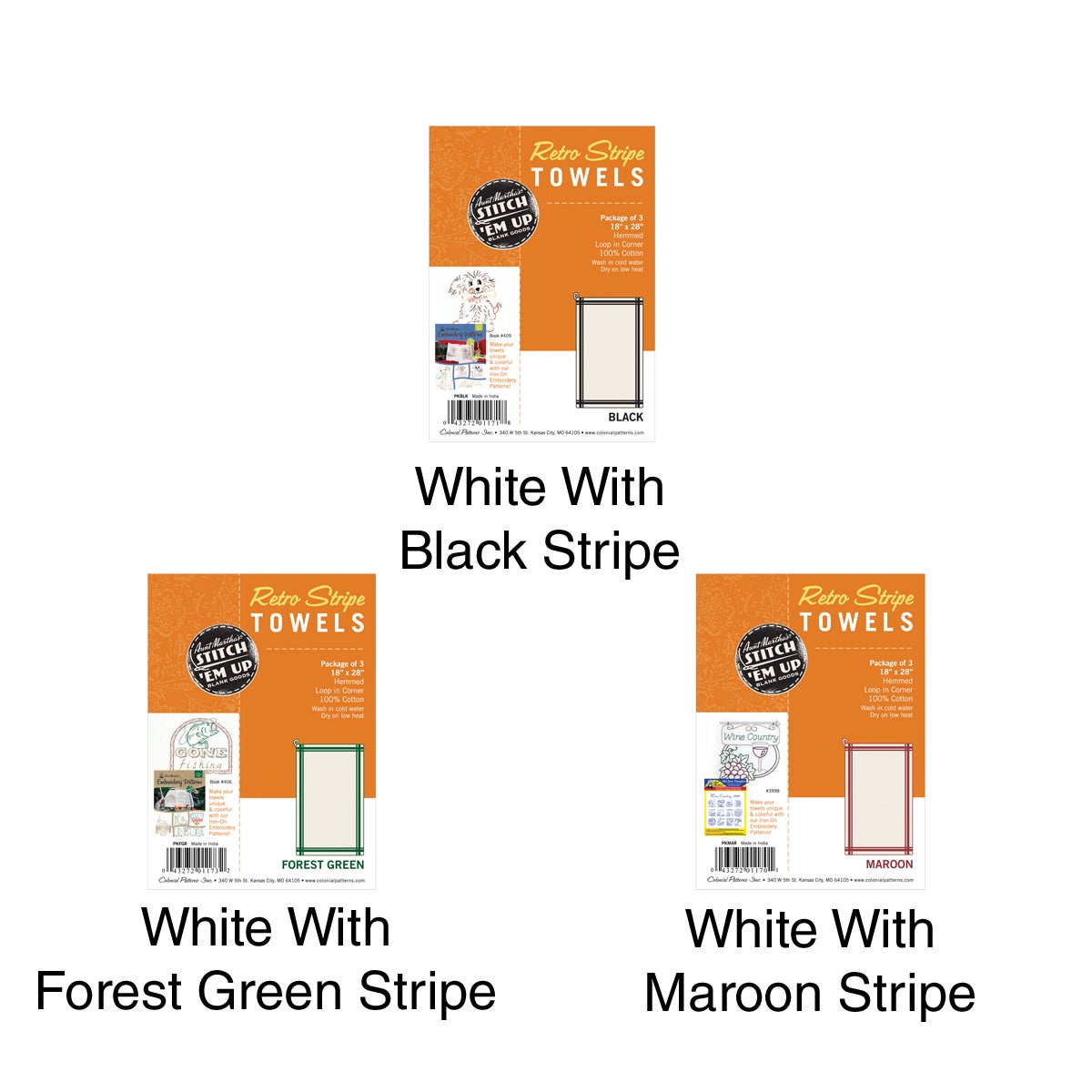 Aunt Martha Vintage Stripe Towel 18X28in 3/Pkg (White W/M...
