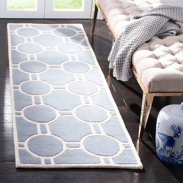 Safavieh Handmade Moroccan Chatham Collection Blue/ Ivory Wool Rug - 2' X 3'