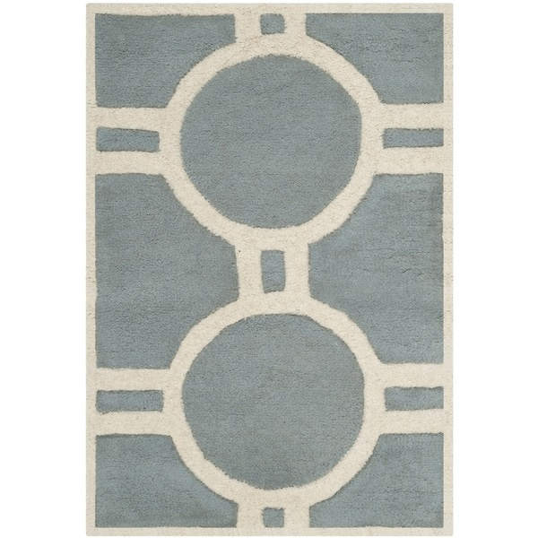 Safavieh Handmade Moroccan Chatham Collection Blue/ Ivory Wool Rug (2' x 3')