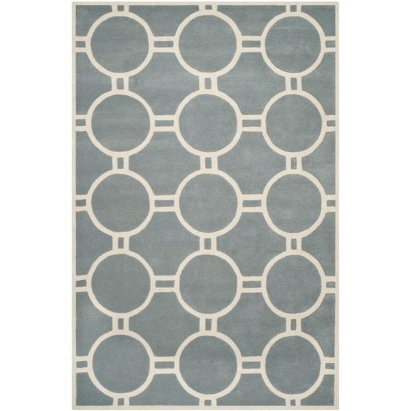 Safavieh Handmade Moroccan Chatham Circles-pattern Blue/ Ivory Wool Rug - 8' x 10'