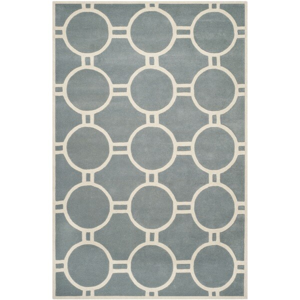 Safavieh Handmade Moroccan Chatham Blue/ Ivory Wool Rug with Durable Backing - 8'9 x 12'