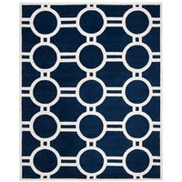 Contemporary Safavieh Handmade Moroccan Chatham Dark Blue/ Ivory Wool Rug - 8' x 10'