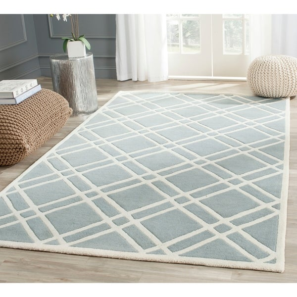 "Safavieh Handmade Moroccan Chatham Blue/ Ivory Wool Area Rug - 8'9"" x 12'"