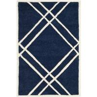 Safavieh Handmade Moroccan Chatham Dark Blue/ Ivory Wool Accent Rug - 2' x 3'