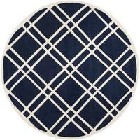 Safavieh Handmade Moroccan Chatham Dark Blue/ Ivory Wool Rug - 7' Round