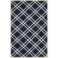 Safavieh Handmade Moroccan Chatham Dark Blue/ Ivory Wool Area Rug - 8' x 10'