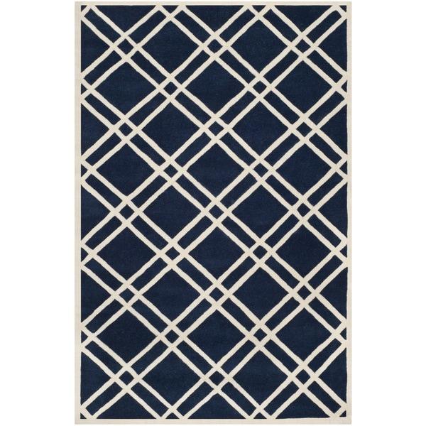 Safavieh Handmade Moroccan Chatham Dark Blue/ Ivory Wool Rug - 8'9 x 12'