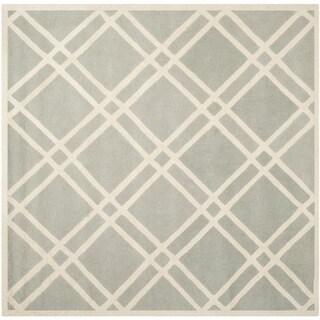 Safavieh Handmade Moroccan Chatham Grey/ Ivory Wool Rug (7' Square)