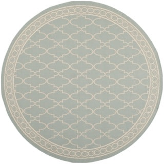 Safavieh Courtyard Trellis All-Weather Aqua/ Beige Indoor/ Outdoor Rug (6'7 Round)