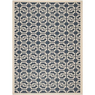 Safavieh Contemporary Indoor/ Outdoor Courtyard Navy/ Beige Rug (8' x 11')