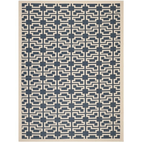Safavieh Courtyard Geometric Navy/ Beige Indoor/ Outdoor Rug - 8' x 11'