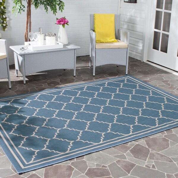Safavieh Courtyard Transitional Blue/ Beige Indoor/ Outdoor Rug - 8' x 11'