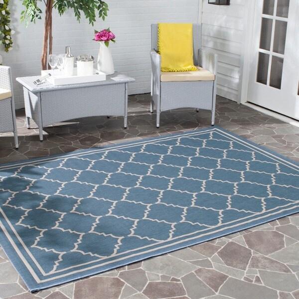 Safavieh Courtyard Transitional Blue/ Beige Indoor/ Outdoor Rug (9' x 12')