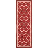 Safavieh Courtyard Transitional Red/ Beige Indoor/ Outdoor Rug - 2'3 x 6'7