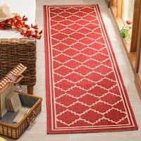 Safavieh Courtyard Transitional Red/ Beige Indoor/ Outdoor Rug - 2'3 x 6'7