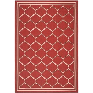 Safavieh Courtyard Transitional Red/ Beige Indoor/ Outdoor Rug (5'3 x 7'7)