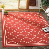 Safavieh Courtyard Transitional Red/ Beige Indoor/ Outdoor Rug - 6'7 x 9'6