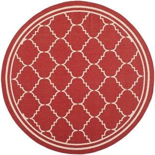 Safavieh Courtyard Transitional Red/ Beige Indoor/ Outdoor Rug (6'7 Round)