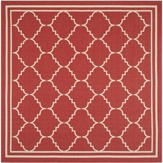 Safavieh Courtyard Transitional Red/ Beige Indoor/ Outdoor Rug (6'7 Square)