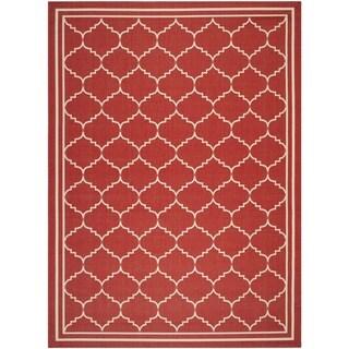Safavieh Courtyard Transitional Red/ Beige Indoor/ Outdoor Rug (8' x 11')