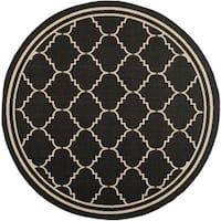 """Safavieh Courtyard Transitional Black/ Cream Indoor/ Outdoor Rug - 6'7"""" x 6'7"""" round"""