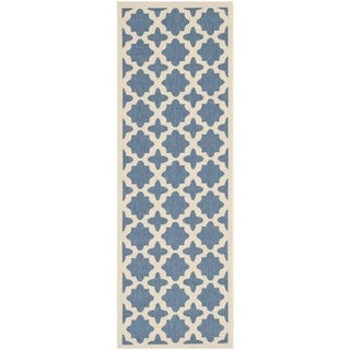 Safavieh Indoor/ Outdoor Courtyard Blue/ Beige Runner Rug (2'3 x 6'7)