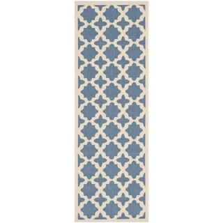 """Safavieh Courtyard All-Weather Blue/ Beige Indoor/ Outdoor Rug (2'3"""" x 8')"""