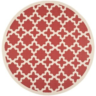 Safavieh Courtyard All-Weather Red/ Bone Indoor/ Outdoor Rug (7'10 Round)