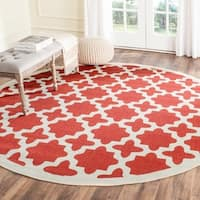 Safavieh Courtyard All-Weather Red/ Bone Indoor/ Outdoor Rug - 7'10 Round