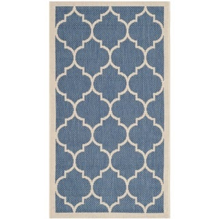 Safavieh Courtyard Moroccan Pattern Blue/ Beige Indoor/ Outdoor Rug (2' x 3'7)