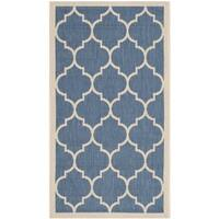 Safavieh Courtyard Moroccan Pattern Blue/ Beige Indoor/ Outdoor Rug - 2' x 3'7
