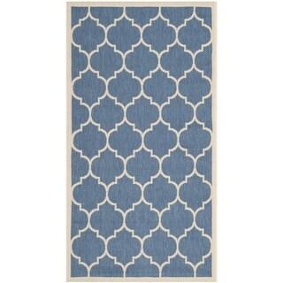 Safavieh Contemporary Indoor/ Outdoor Courtyard Blue/ Beige Rug (2'7 x 5')