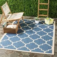 """Safavieh Courtyard Lagoon Blue/ Beige Indoor/ Outdoor Rug - 5'3"""" x 7'7"""""""