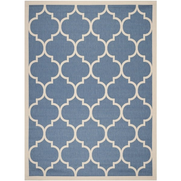 Safavieh Courtyard Moroccan Pattern Blue/ Beige Indoor/ Outdoor Rug    9u0026#x27;
