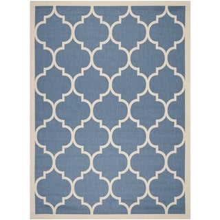 Safavieh Courtyard Moroccan Pattern Blue/ Beige Indoor/ Outdoor Rug (9' x 12')