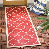 Safavieh Courtyard Moroccan Pattern Red/ Bone Indoor/ Outdoor Runner Rug - 2'3 x 10'