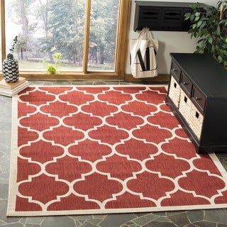 Safavieh Indoor/ Outdoor Courtyard Red/ Bone Poplypropylene Rug (4' Square)
