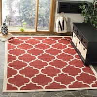 Safavieh Courtyard Moroccan Pattern Red/ Bone Indoor/ Outdoor Rug - 4' x 4' Square