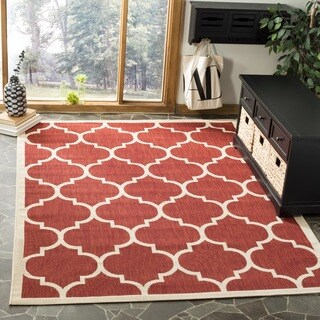 Safavieh Courtyard Moroccan Pattern Red/ Bone Indoor/ Outdoor Rug (4' Square) - 4'