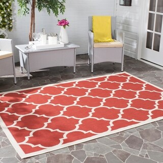 Safavieh Courtyard Moroccan Pattern Red/ Bone Indoor/ Outdoor Rug (9' x 12')