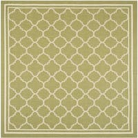 Safavieh Indoor/ Outdoor Courtyard Green/ Beige Polypropylene Rug - 4' Square