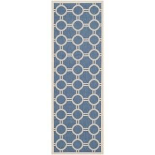 Contemporary Safavieh Indoor/ Outdoor Courtyard Blue/ Beige Rug (2'3 x 6'7)