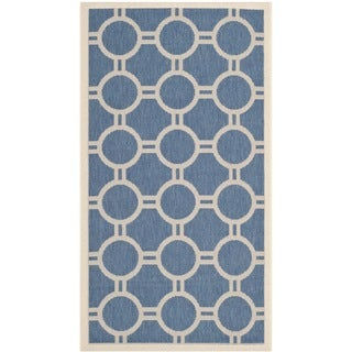 Safavieh Indoor/ Outdoor Courtyard Blue/ Beige Geometric-pattern Rug (2'7 x 5')